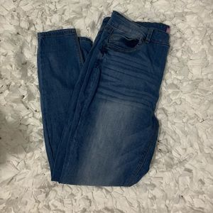 Light wash wax jean jeggings